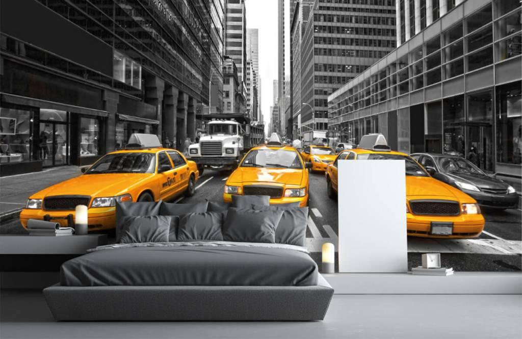 Papier peint noir et blanc - Taxis jaunes à New York - Chambre d'adolescent 3