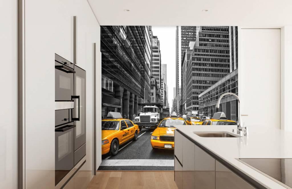 Papier peint noir et blanc - Taxis jaunes à New York - Chambre d'adolescent 4