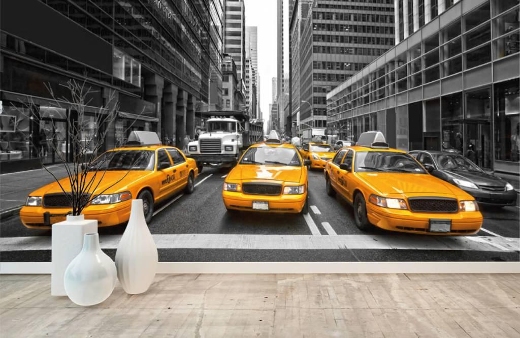 Papier peint noir et blanc - Taxis jaunes à New York - Chambre d'adolescent 8