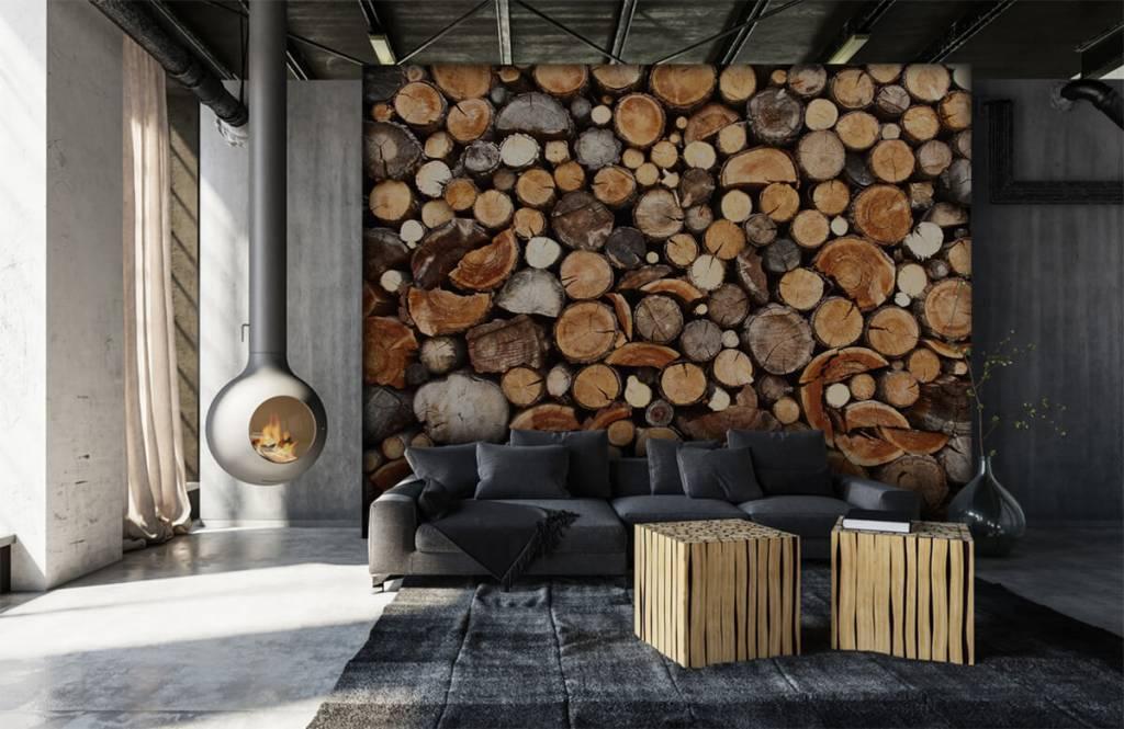 Papier peint bois - Troncs d'arbres empilés - Salle de séjour 1
