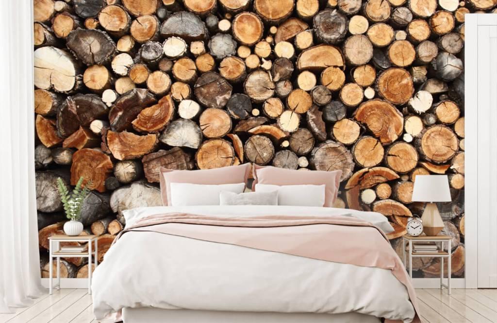 Papier peint bois - Troncs d'arbres empilés - Salle de séjour 2