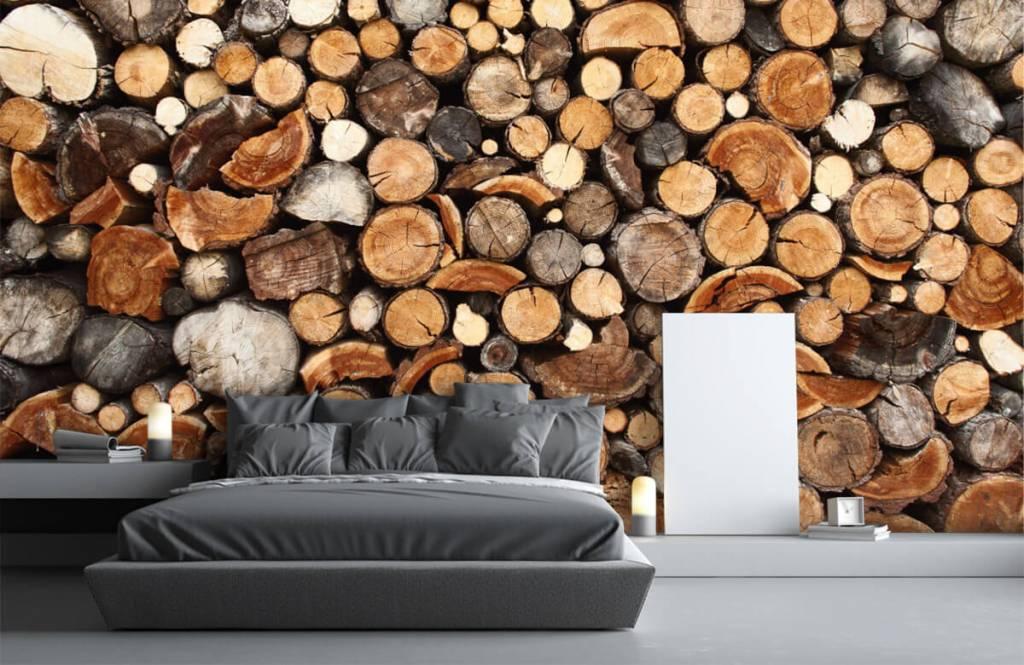 Papier peint bois - Troncs d'arbres empilés - Salle de séjour 3