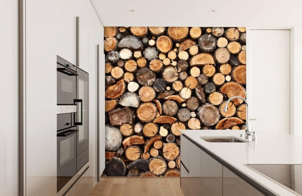 Papier peint bois - Troncs d'arbres empilés - Salle de séjour 4