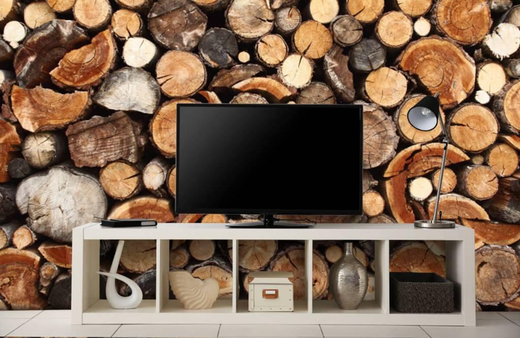 Papier peint bois - Troncs d'arbres empilés - Salle de séjour 5