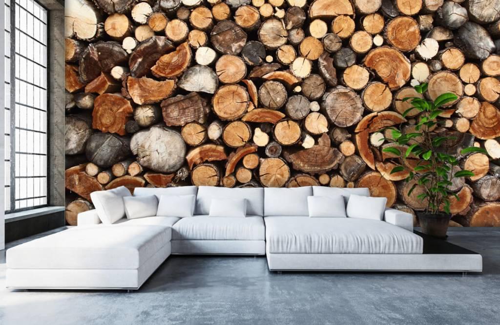 Papier peint bois - Troncs d'arbres empilés - Salle de séjour 6