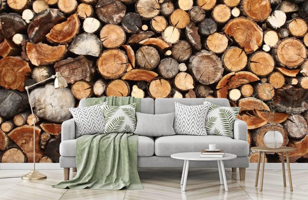 Papier peint bois - Troncs d'arbres empilés - Salle de séjour 7