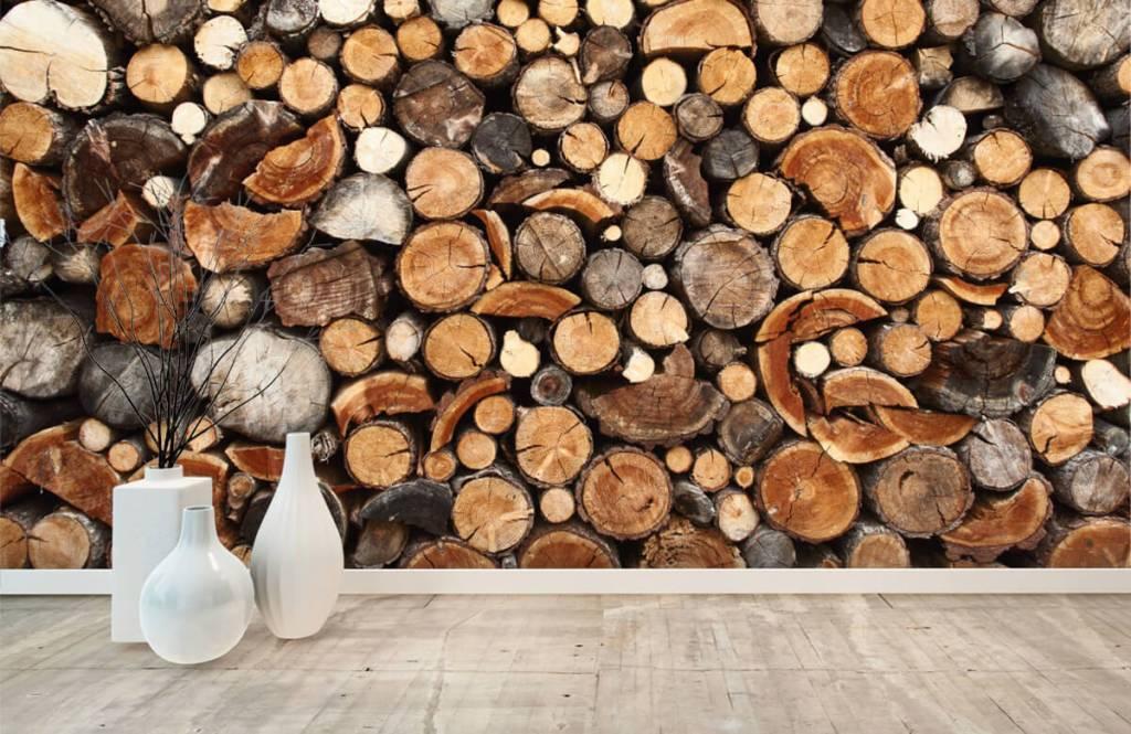 Papier peint bois - Troncs d'arbres empilés - Salle de séjour 8