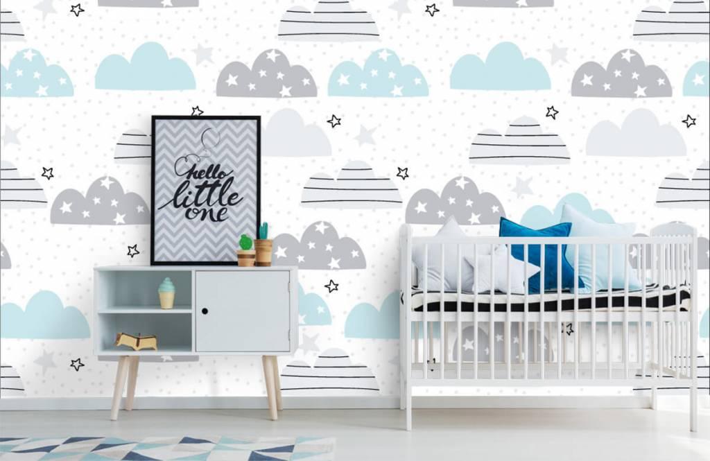 Papier peint bébé - Les nuages dessinés - Chambre de bébé 1