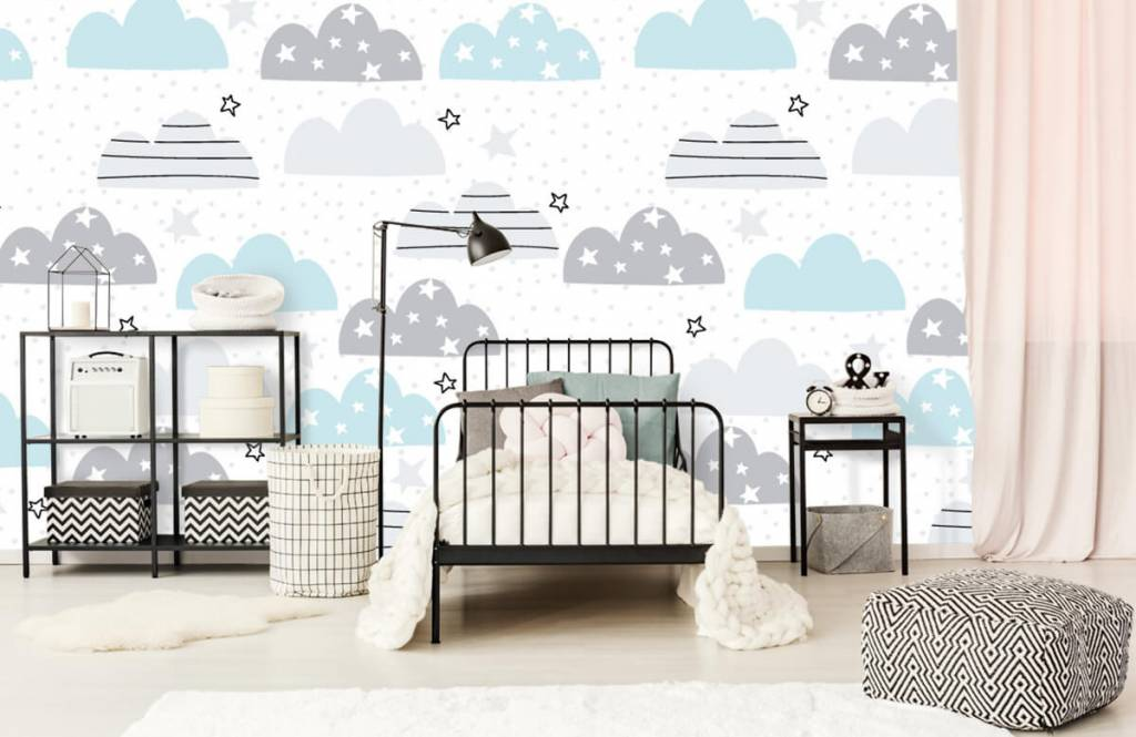 Papier peint bébé - Les nuages dessinés - Chambre de bébé 2