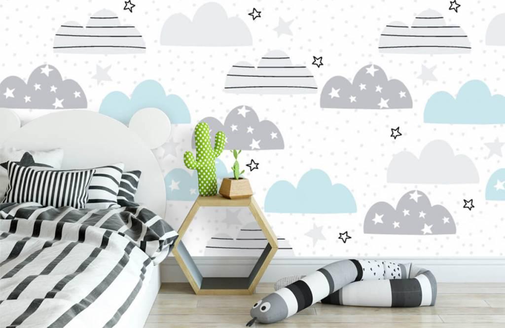Papier peint bébé - Les nuages dessinés - Chambre de bébé 3