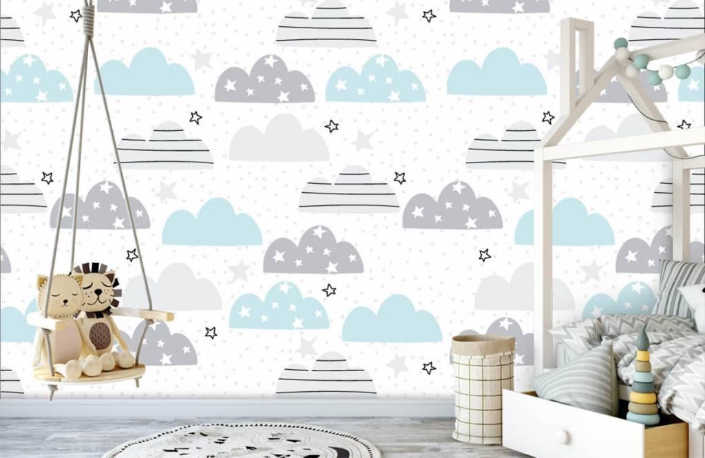 Papier peint bébé - Les nuages dessinés - Chambre de bébé 4