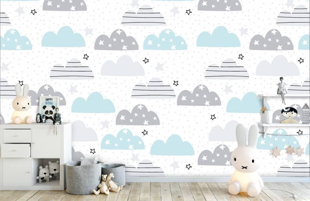 Papier peint bébé - Les nuages dessinés - Chambre de bébé 5