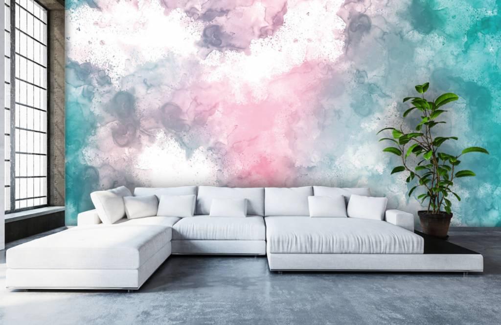 Abstrait - Fumée rose verte - Chambre d'adolescent 3
