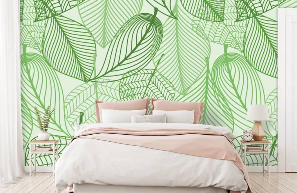Autre - Feuilles vertes dessinées - Chambre à coucher 4