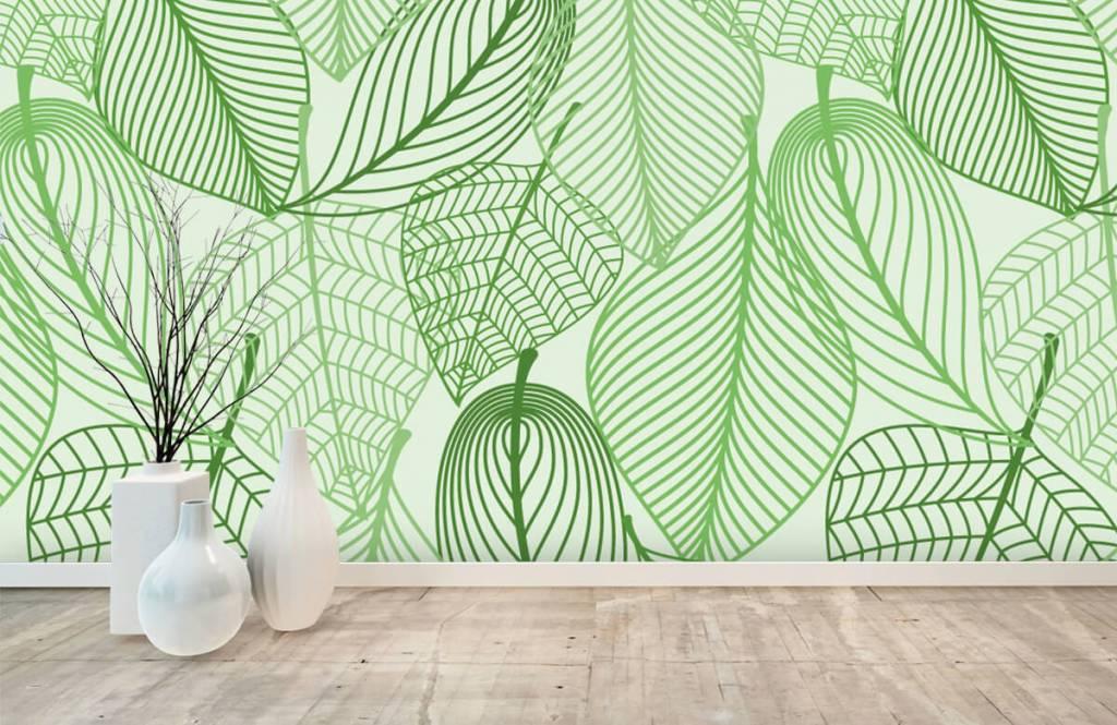 Autre - Feuilles vertes dessinées - Chambre à coucher 8