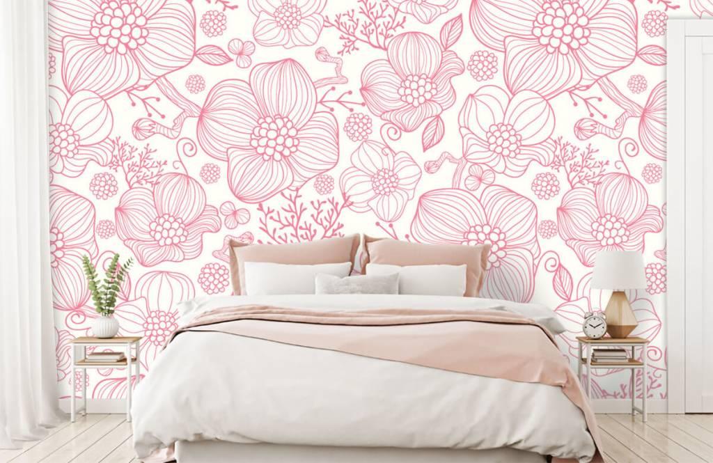 Motifs chambre d'enfants - Grandes fleurs roses - Chambre à coucher 1