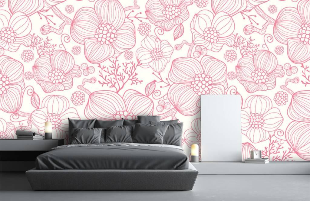 Motifs chambre d'enfants - Grandes fleurs roses - Chambre à coucher 2