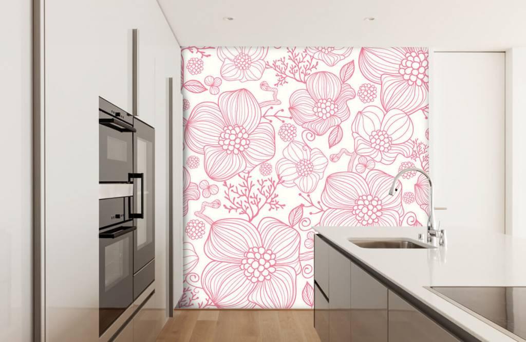 Motifs chambre d'enfants - Grandes fleurs roses - Chambre à coucher 3