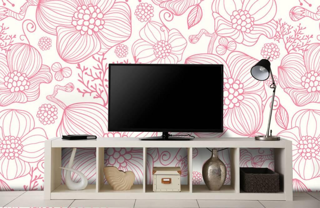 Motifs chambre d'enfants - Grandes fleurs roses - Chambre à coucher 4