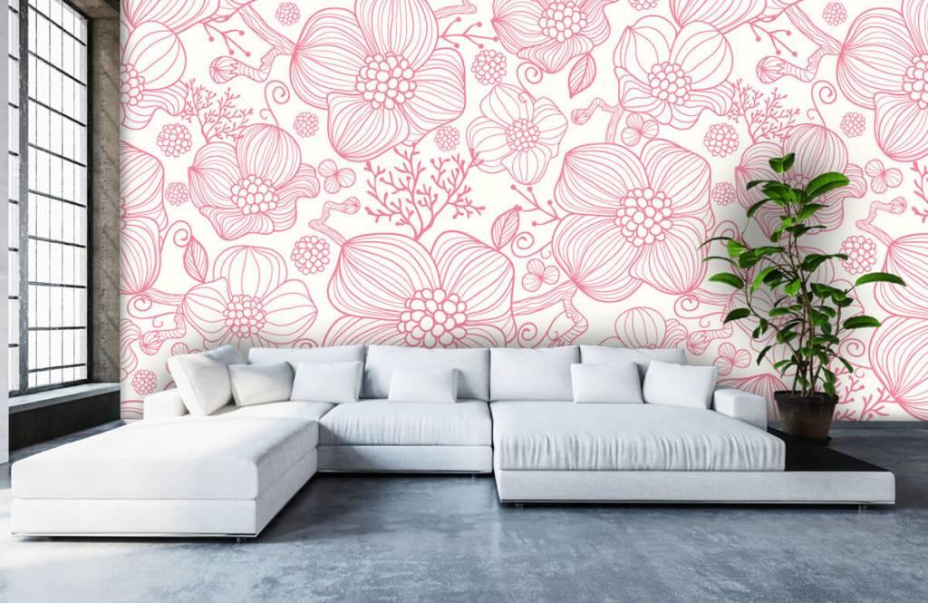 Motifs chambre d'enfants - Grandes fleurs roses - Chambre à coucher 5