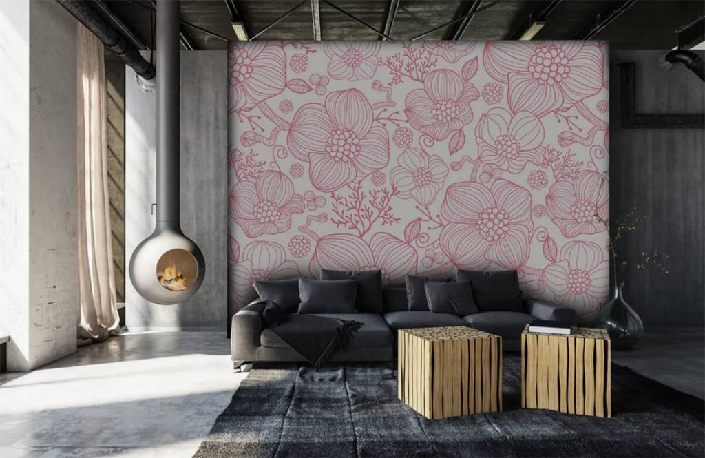 Motifs chambre d'enfants - Grandes fleurs roses - Chambre à coucher 6