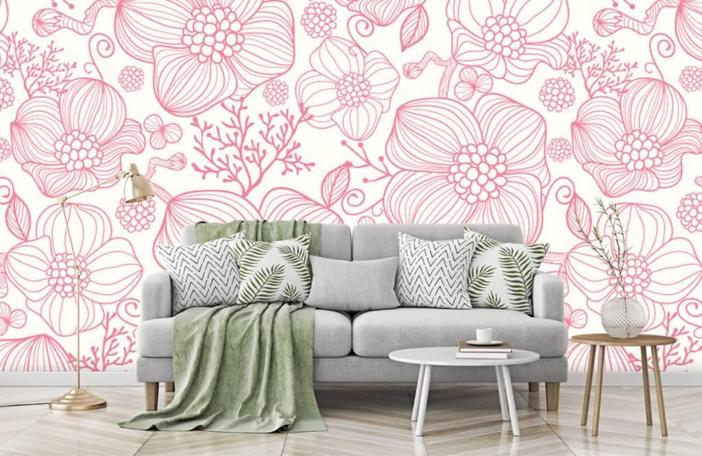 Motifs chambre d'enfants - Grandes fleurs roses - Chambre à coucher 7