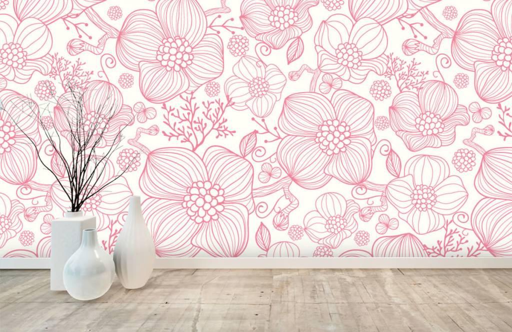 Motifs chambre d'enfants - Grandes fleurs roses - Chambre à coucher 8