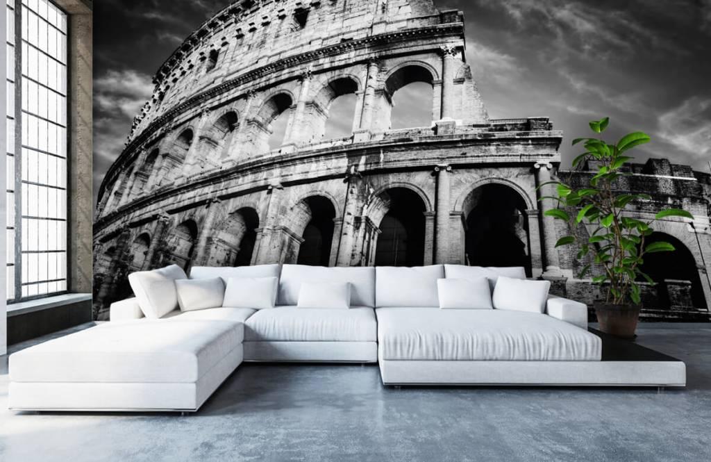 Papier peint noir et blanc - Colisée à Rome - Chambre d'adolescent 1