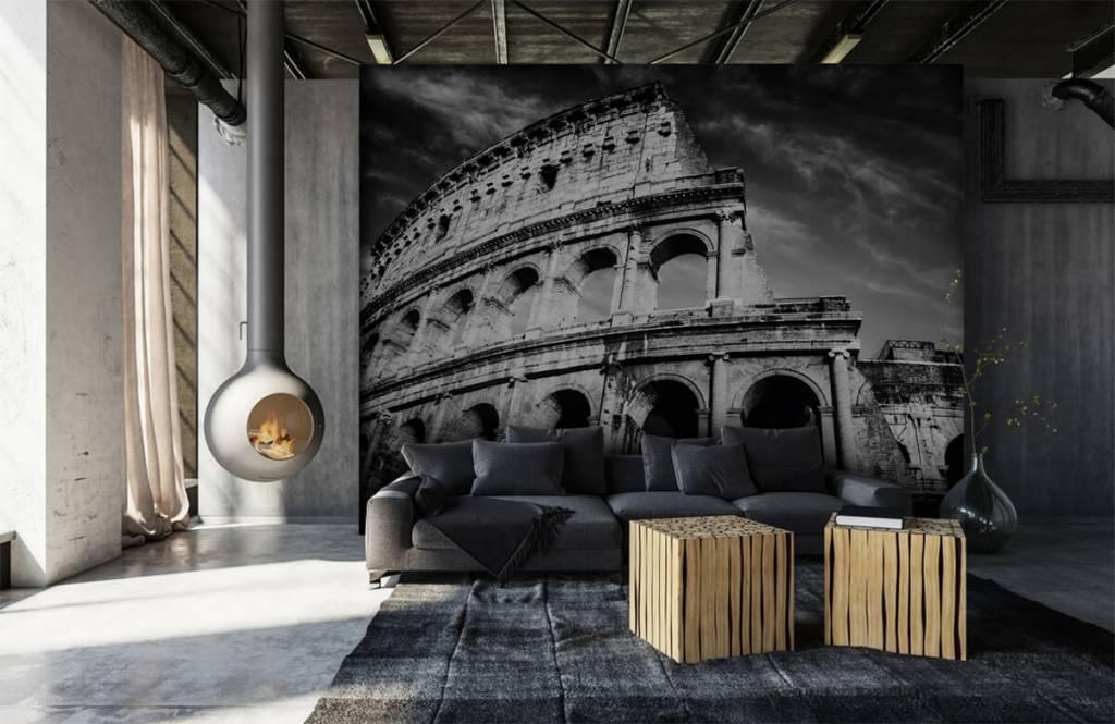 Papier peint noir et blanc - Colisée à Rome - Chambre d'adolescent 2