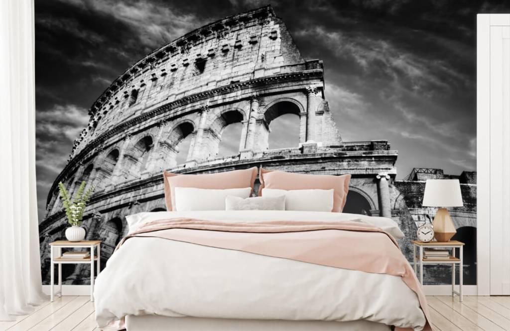 Papier peint noir et blanc - Colisée à Rome - Chambre d'adolescent 3