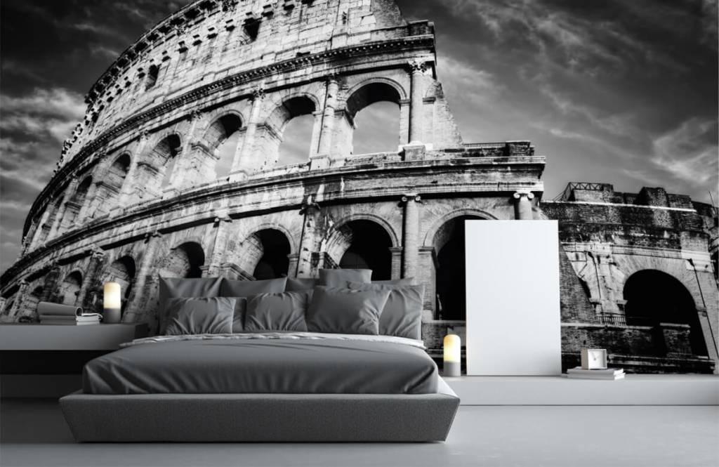 Papier peint noir et blanc - Colisée à Rome - Chambre d'adolescent 4