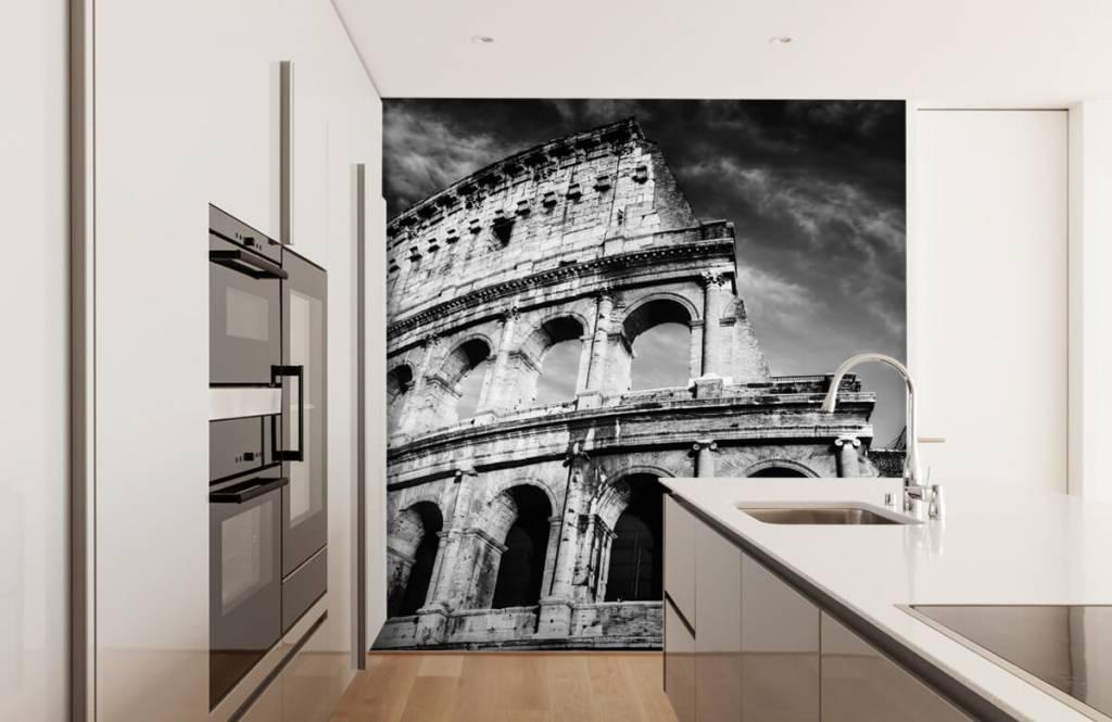 Papier peint noir et blanc - Colisée à Rome - Chambre d'adolescent 5
