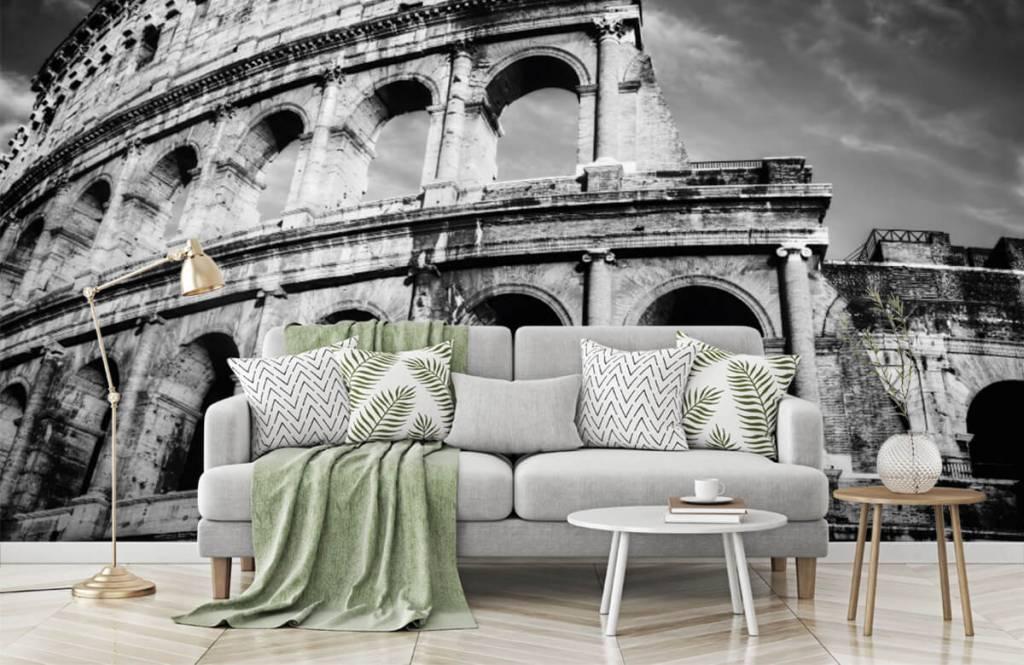 Papier peint noir et blanc - Colisée à Rome - Chambre d'adolescent 7