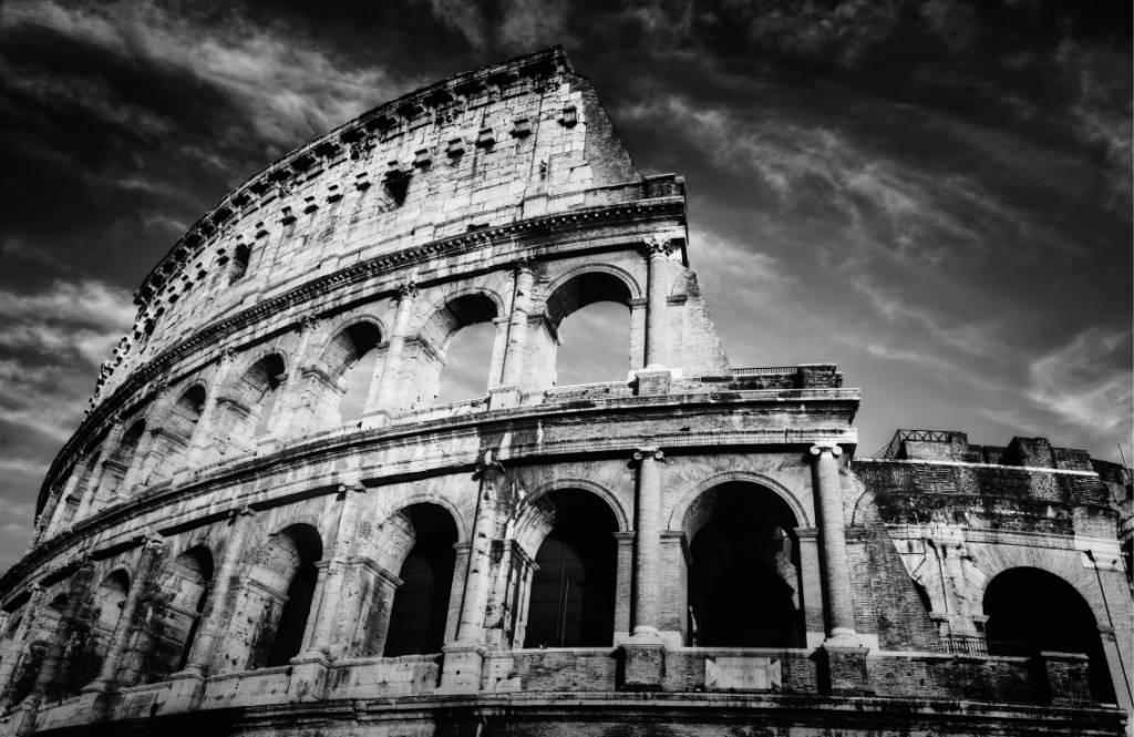 Papier peint noir et blanc - Colisée à Rome - Chambre d'adolescent 8