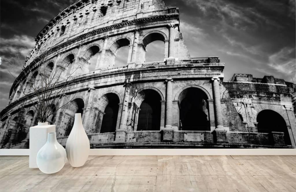 Papier peint noir et blanc - Colisée à Rome - Chambre d'adolescent 9
