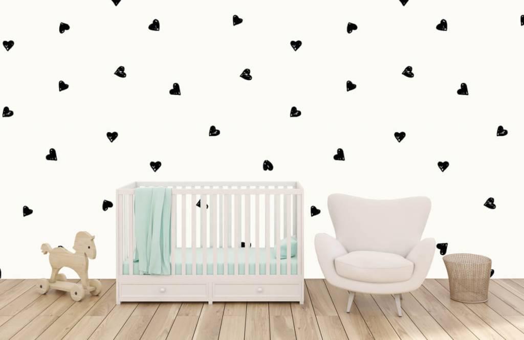 Papier peint enfants - Petits cœurs noirs - Chambre d'enfants 1