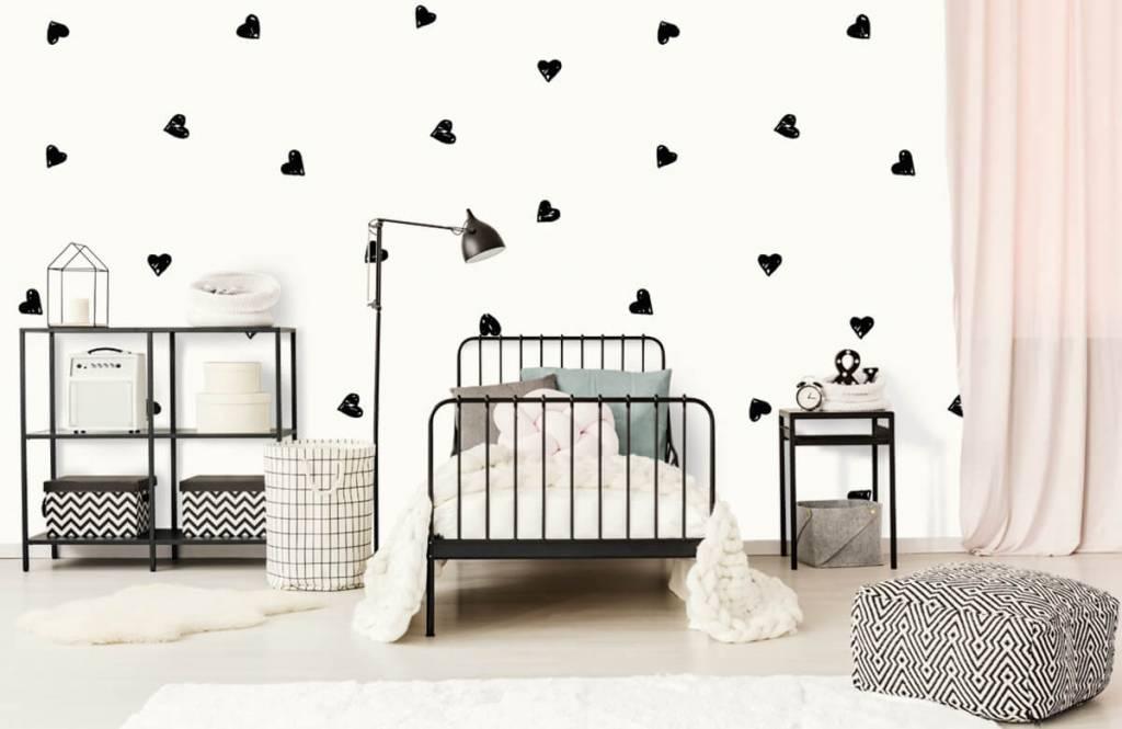 Papier peint enfants - Petits cœurs noirs - Chambre d'enfants 2