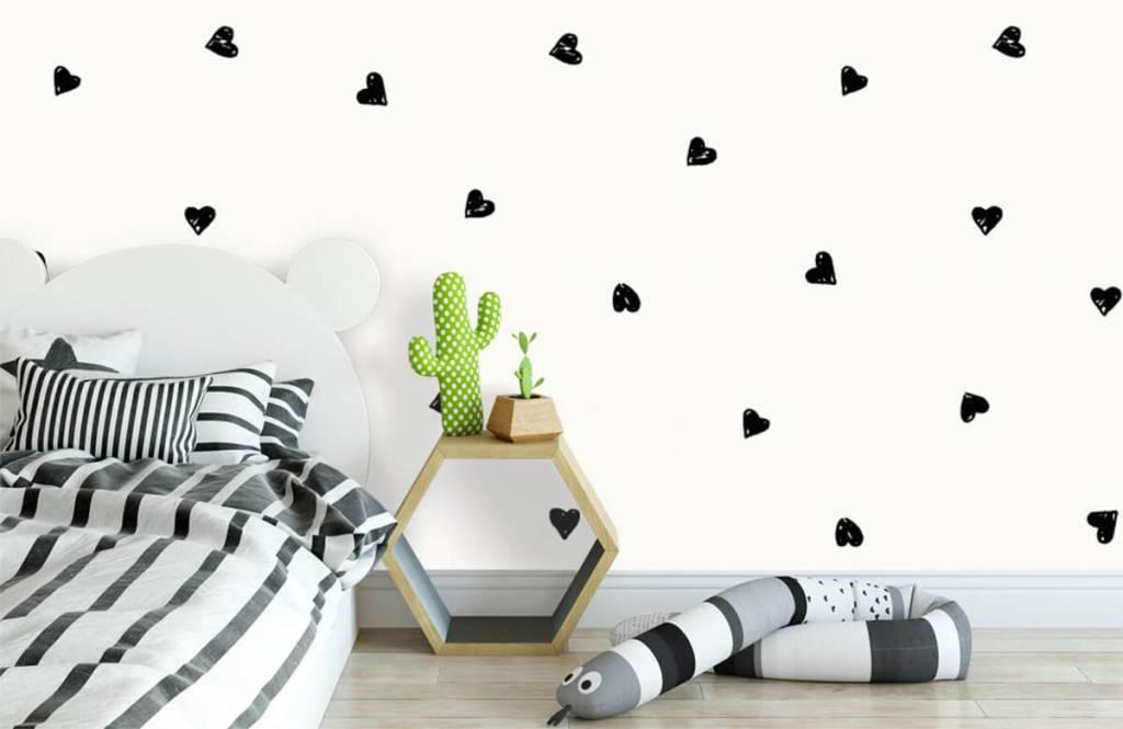 Papier peint enfants - Petits cœurs noirs - Chambre d'enfants 3