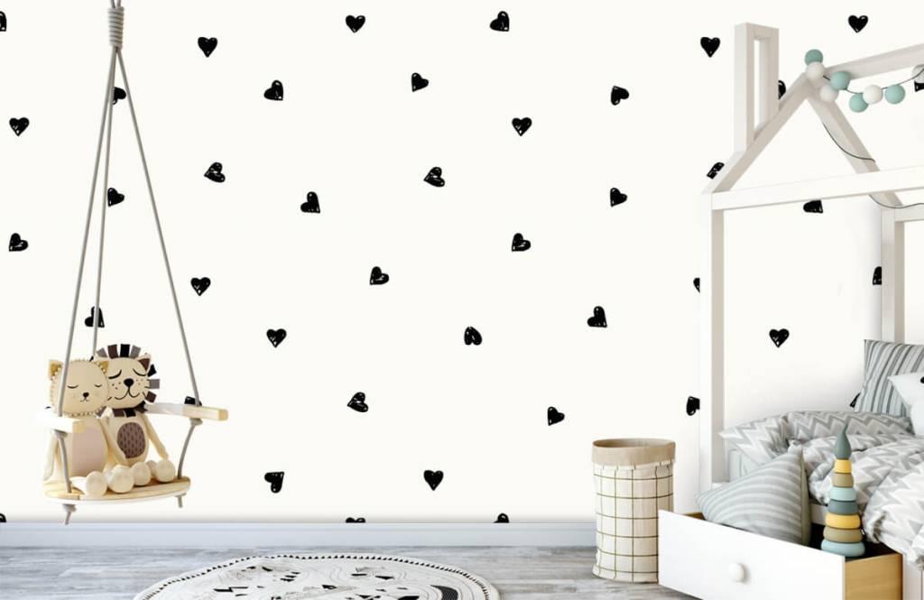 Papier peint enfants - Petits cœurs noirs - Chambre d'enfants 4