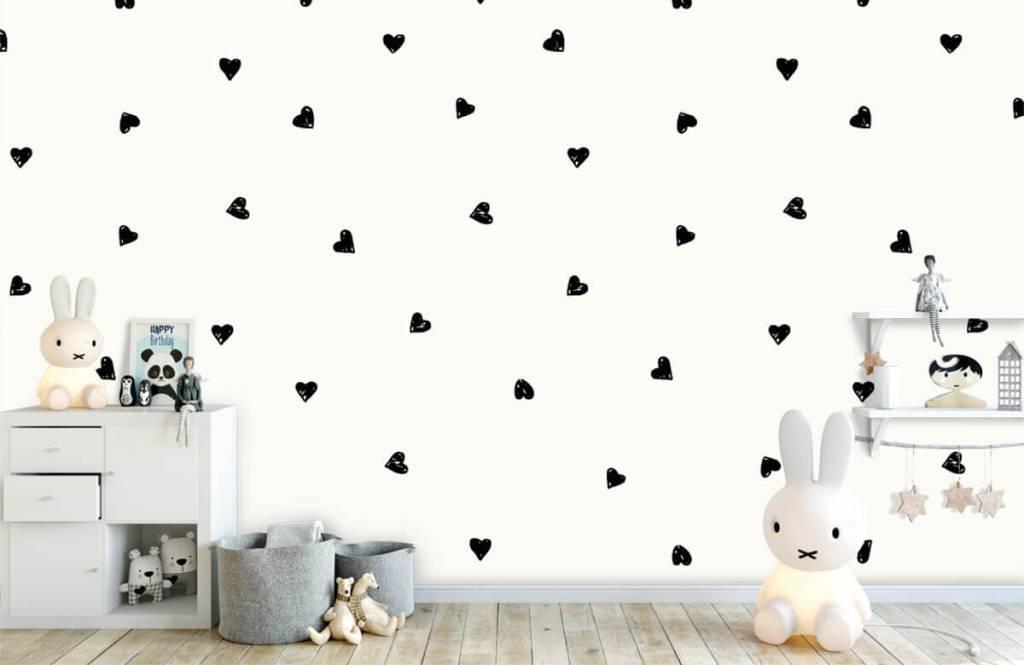 Papier peint enfants - Petits cœurs noirs - Chambre d'enfants 5