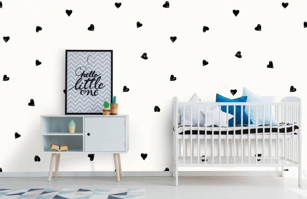 Papier peint enfants - Petits cœurs noirs - Chambre d'enfants 6
