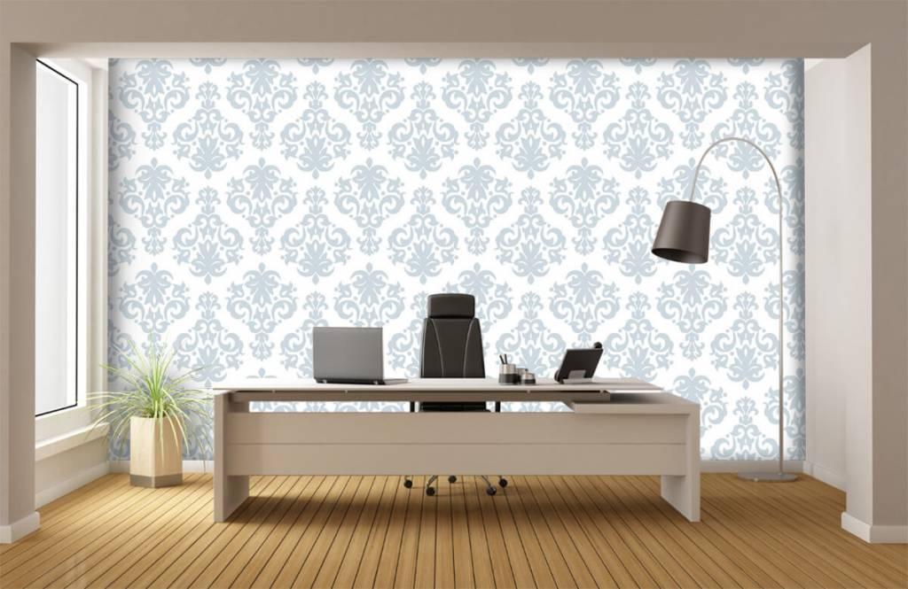 Papier peint baroque - Bleu clair baroque - Chambre à coucher 1