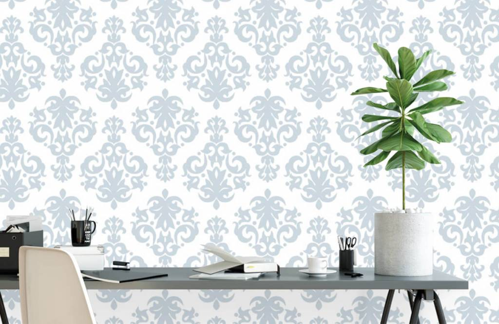 Papier peint baroque - Bleu clair baroque - Chambre à coucher 2