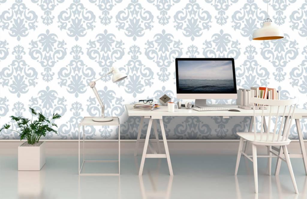 Papier peint baroque - Bleu clair baroque - Chambre à coucher 3