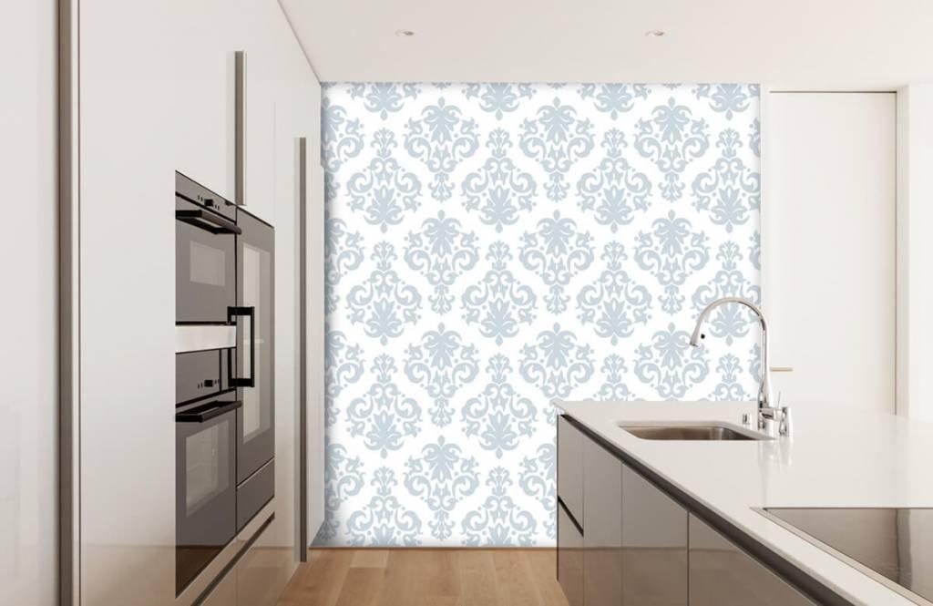 Papier peint baroque - Bleu clair baroque - Chambre à coucher 4