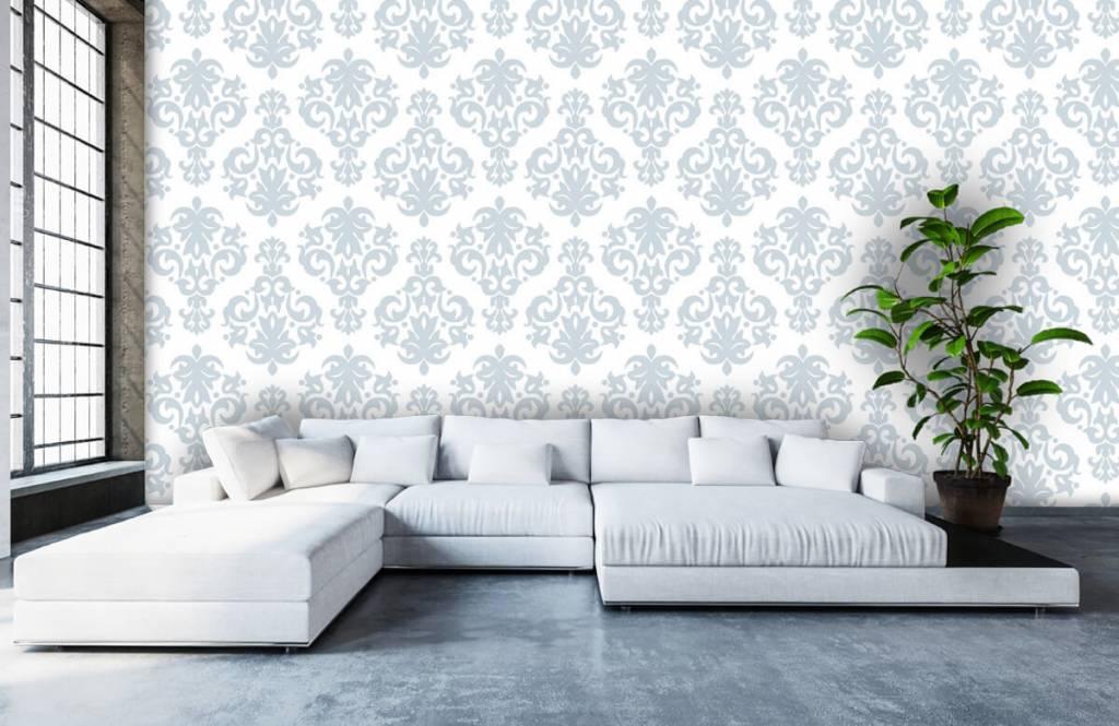 Papier peint baroque - Bleu clair baroque - Chambre à coucher 5