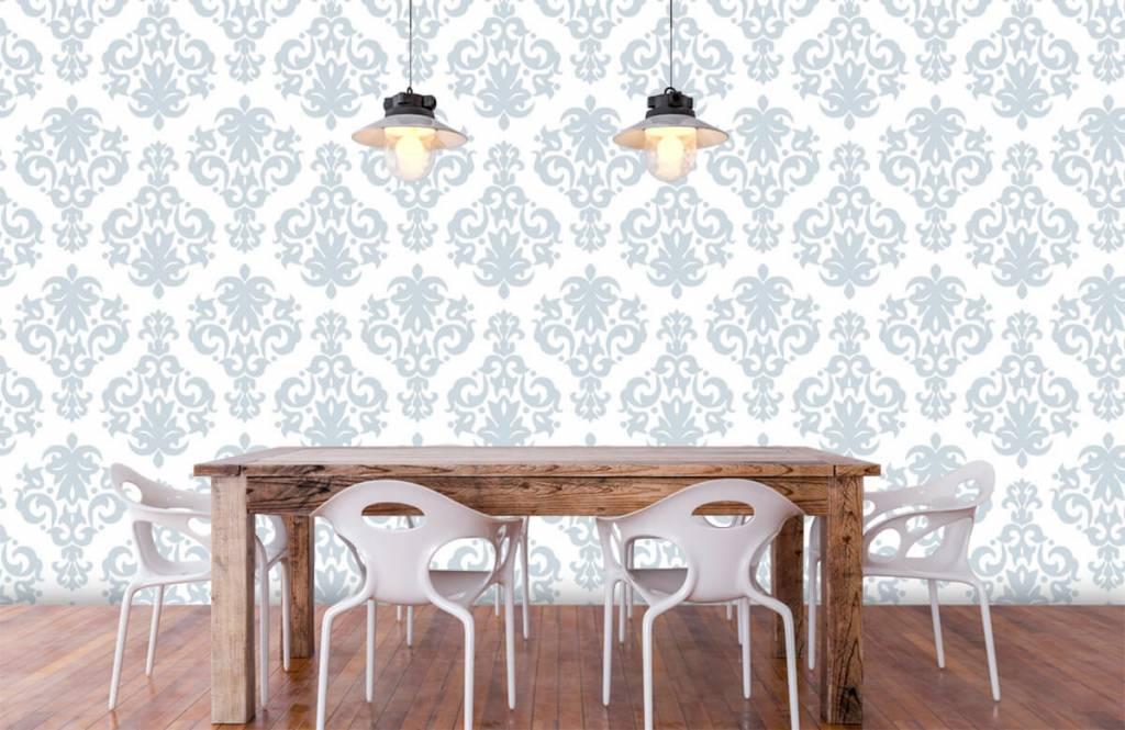 Papier peint baroque - Bleu clair baroque - Chambre à coucher 6