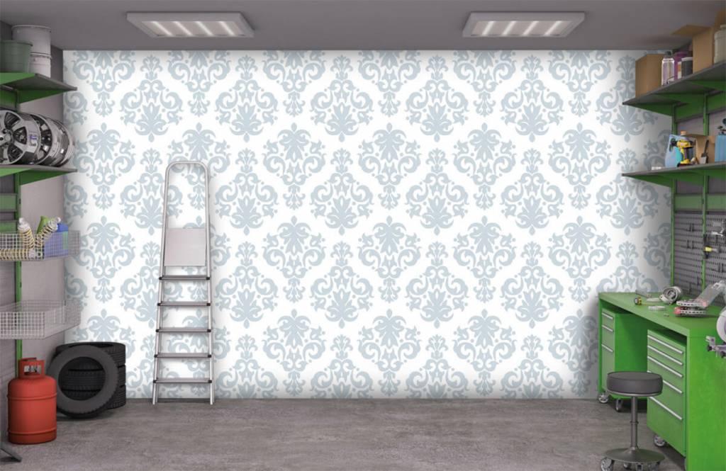 Papier peint baroque - Bleu clair baroque - Chambre à coucher 9