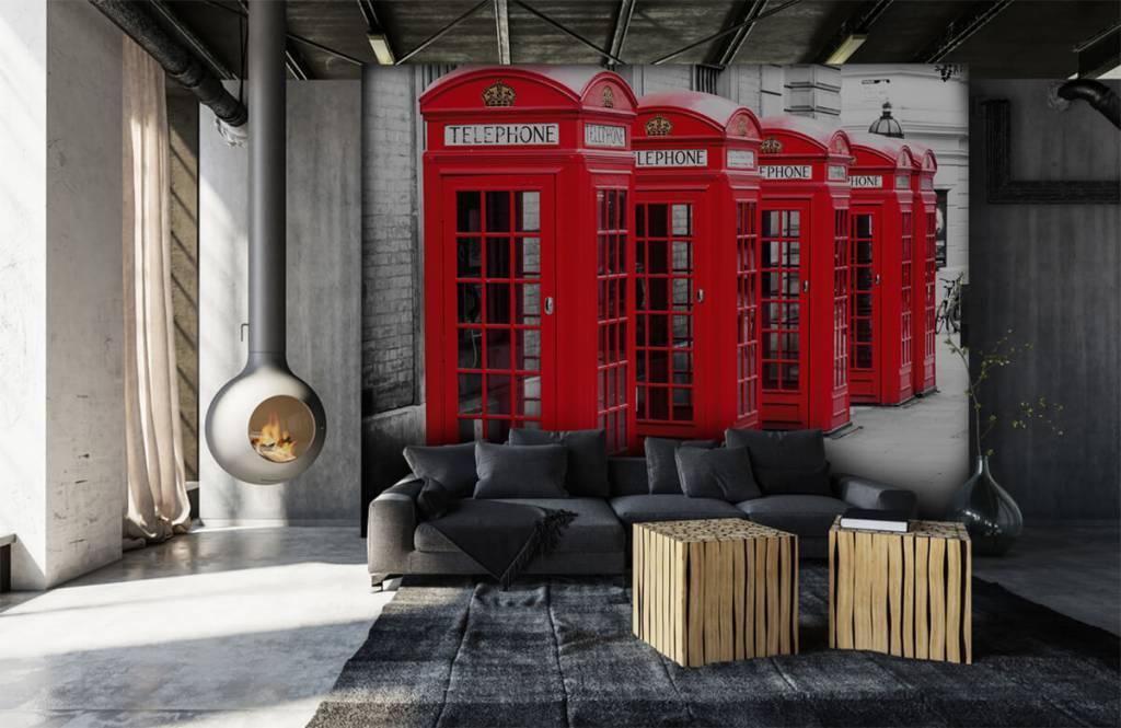 Papier peint noir et blanc - Cabines téléphoniques - Chambre d'adolescent 7