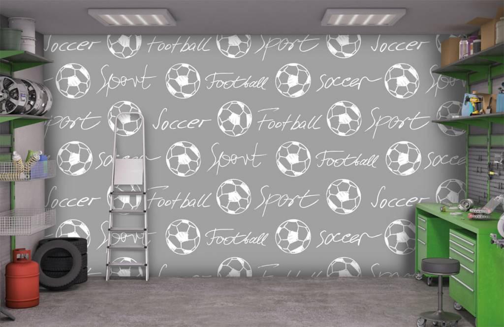 Papier peint de football - Ballons de football et texte - Chambre d'enfants 1